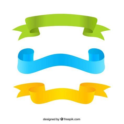 Ribbon Three three colorful ribbons vector free
