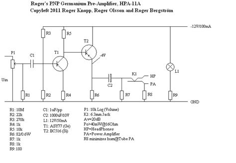 germanium transistor lifier schematic roger s pnp germanium pre