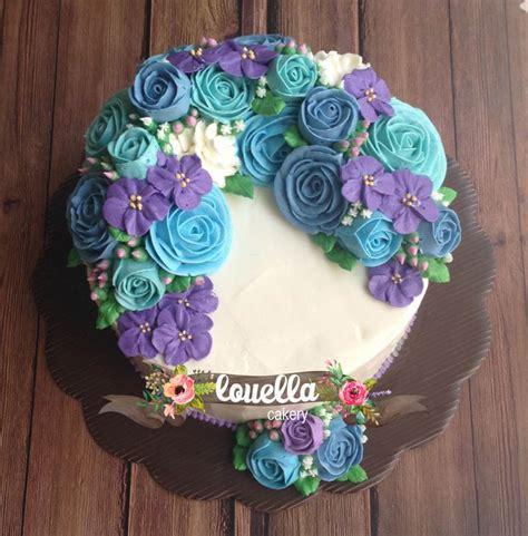 Wreath Style Korean Buttercream flower wreath cake cakejakarta buttercream flowercake cakes buttercream floral