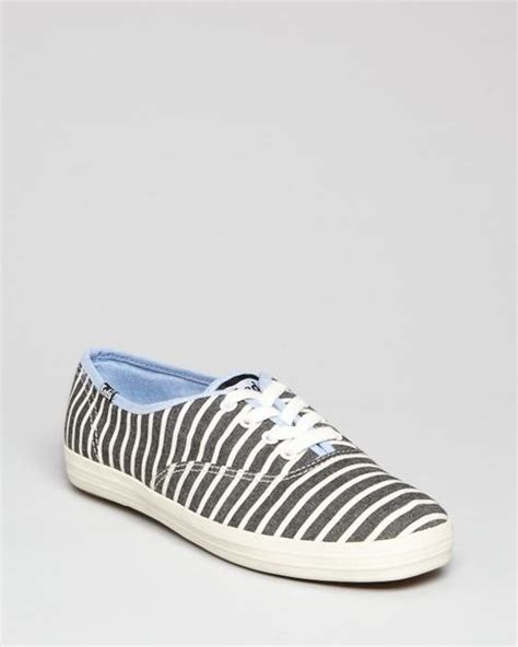 Keds Black White 1 keds lace up sneakers chion stripe in white white