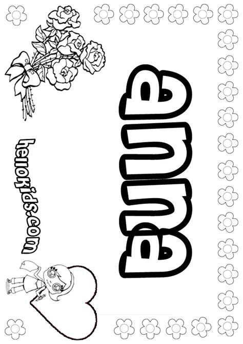 coloring pages of the name anna anna coloring pages hellokids com