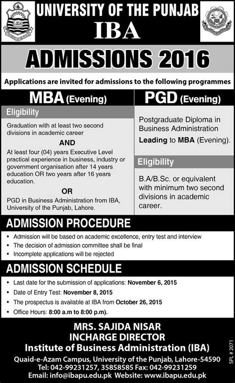 Http Www Esade Edu Mbacandidate Documentation Required Mba Pdf by Pu Iba Mba Pgd Evening Admission 2017 Form Entry Test Date