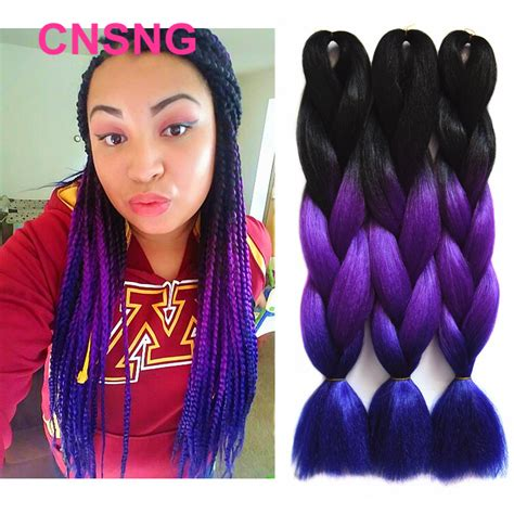 dark purple braiding hair ombre kanekalon braiding hair synthetic jumbo braiding