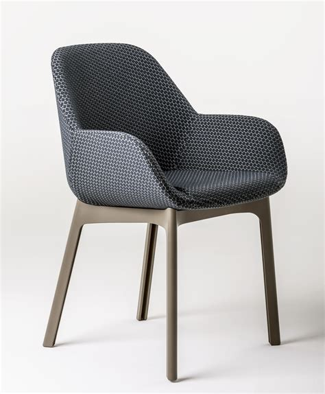 le de bureau kartell fauteuil rembourr 233 clap tissu pieds plastique graphite