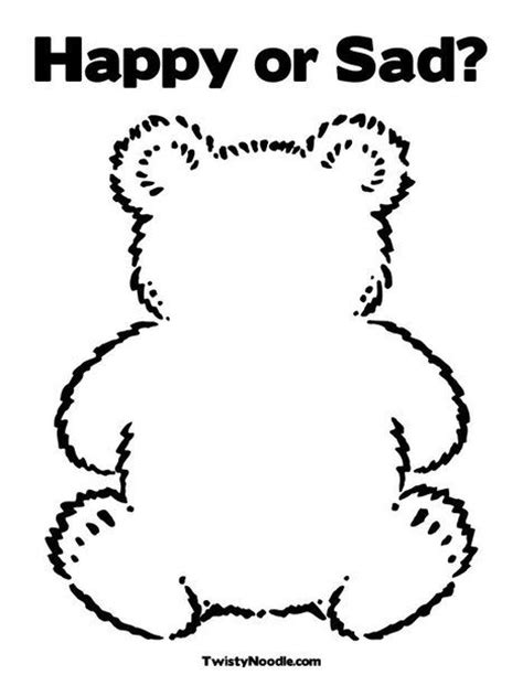 sad bear coloring pages happy or sad teddy bear coloring page toddler activities