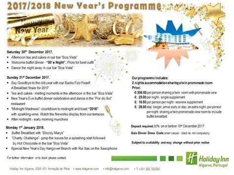 new year programme new year s at the inn algarve my guide algarve