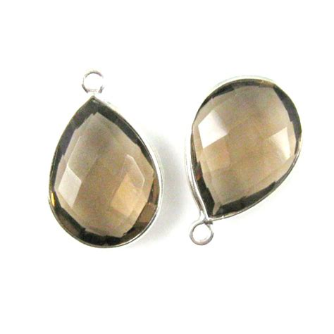 wholesale sterling silver teardrop bezel smokey quartz