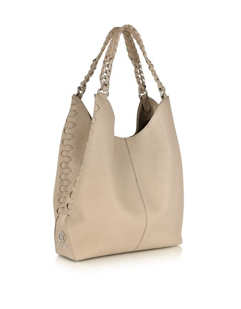 Roberto Cavalli Braided Patent Leather Clutch by Lyst Roberto Cavalli Desert Sand Leather Hobo Bag In