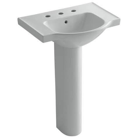 kohler veer pedestal sink shop kohler veer 35 5 in h grey vitreous china