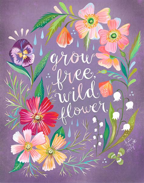 flower design quotes purple grow free wildflower art print watercolor quote