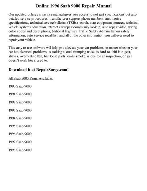 service manual online car repair manuals free 1999 saab 9000 regenerative braking service