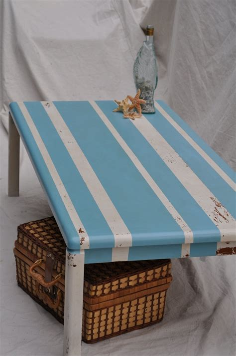 distressed coffee table shabby chic beachy blue and