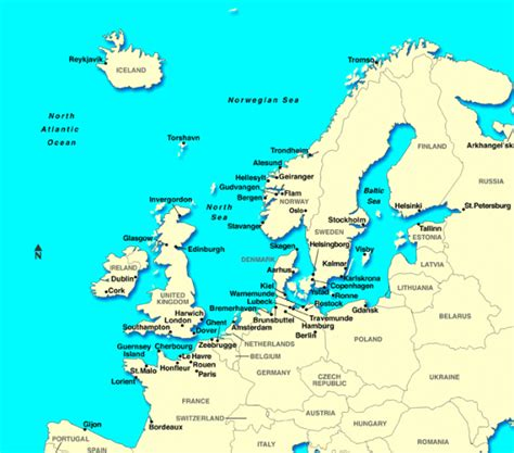 map of northern europe with cities map of northern european cruise ports
