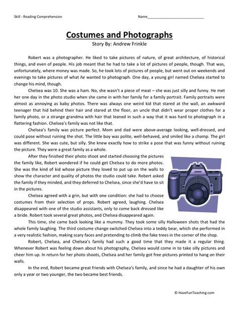 Reading Worksheets 5th Grade by Reading Comprehension Worksheet Costumes And Photographs