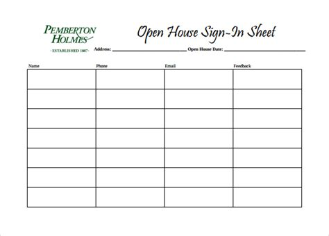 open house template sle open house sign in sheet 14 documents in pdf