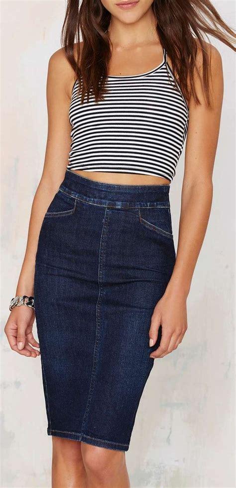 17 best ideas about denim pencil skirt on midi
