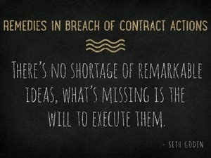 remedies in breach of contract actions business litigation
