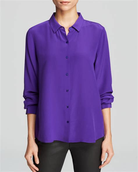 Blouse Daun lyst eileen fisher silk button blouse in purple