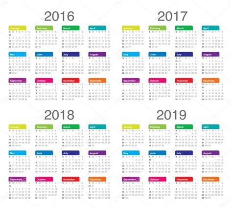 calendario 2016 y 2017 calend 225 rio 2016 2017 2018 2019 vetores de stock