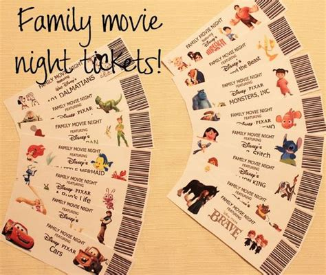 printable movie night tickets family movie night family movies and movie nights on