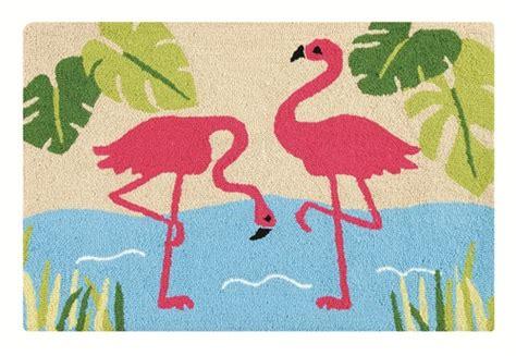 flamingo rug tropical pair of pink flamingos hooked rug floor mat ebay
