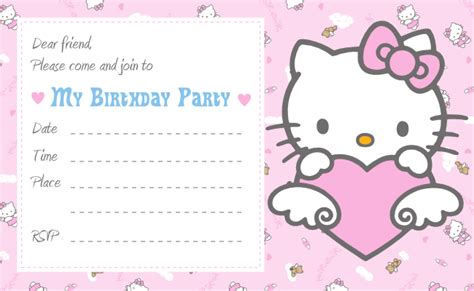 free printable hello kitty invitation birthday party