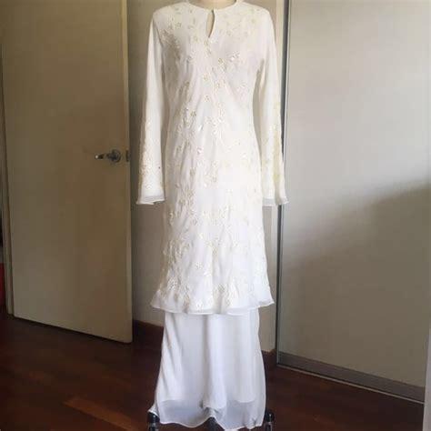 Baju Melayu Nikah Putih baju kurung modern nikah putih size m fesyen wanita pakaian pengantin di carousell