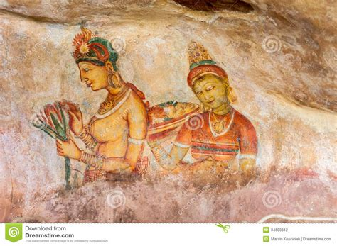 famous wall paintings ancient wall paintings at sigirya stock photography