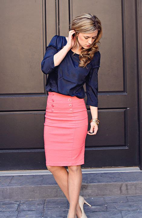 Pencil Skirt And Blouse Combo by Navy And Coral Business Casual Work Career Skirt