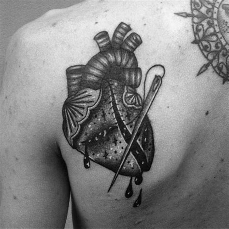 40 broken heart tattoo designs for men split ink ideas