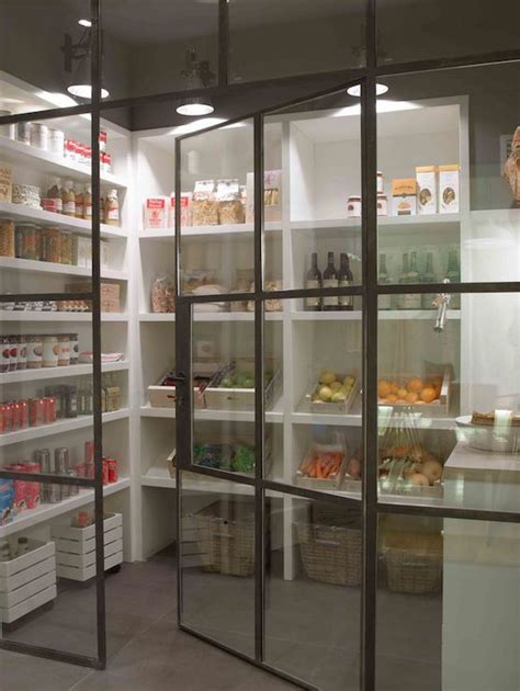walk  pantry features metal  glass door opening