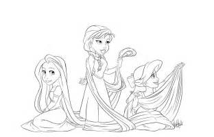 rapunzel ariel anna coloring page by vanillakeyblade on