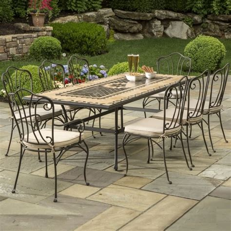marble patio furniture 84 quot loretto marble mosaic dining by alfresco home