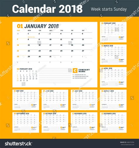 calendar 2018 year vector design stationery stock vector calendar template 2018 year business planner 스톡 벡터