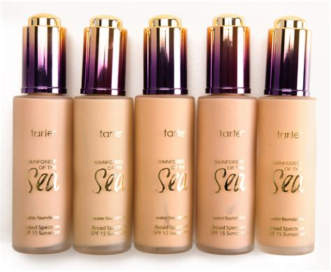tarte foundation colors tarte rainforest of the sea water foundation review