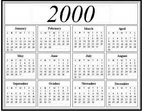 Calendar For 2000 2000 Calendar Year Calendar Template 2016