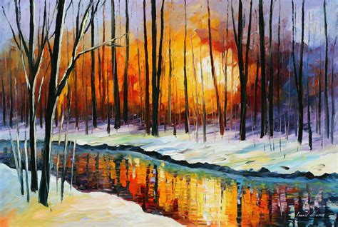 leonid afremov winter sun the wall art blog
