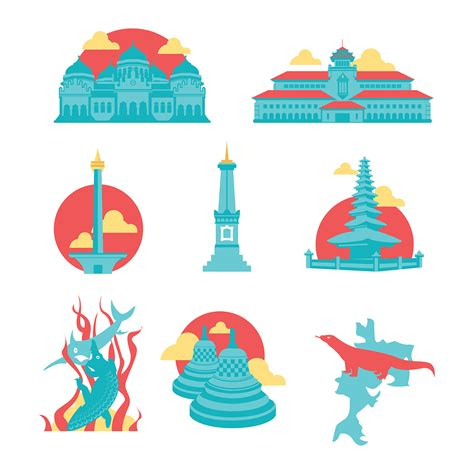 indonesian landmark vector icons  behance