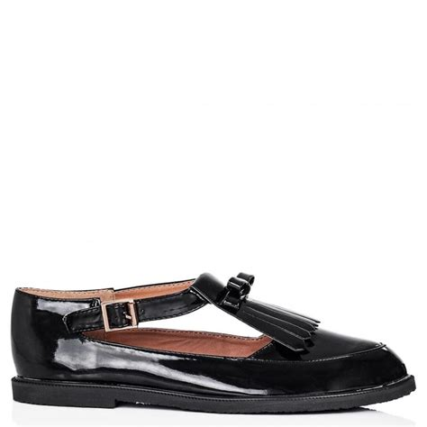 black flat shoes with buckle buy callme flat buckle cut out shoes black patent