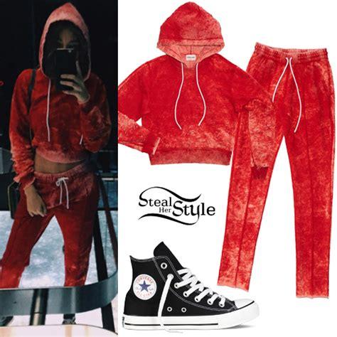 madison beer hoodie madison beer crop hoodie red joggers steal her style