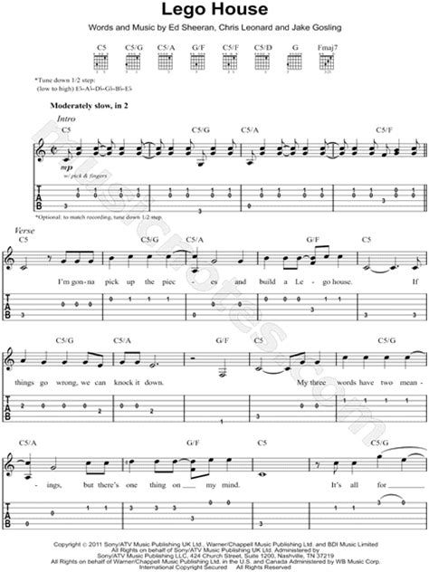 lego house tutorial guitar easy ed sheeran quot lego house quot guitar tab in c major download