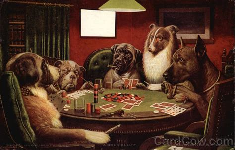 dogs  table playing poker