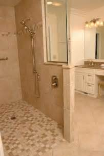 design walk in shower without door with mosaic tiles