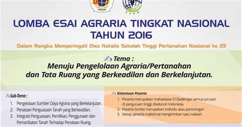 format esai lomba esai agraria tingkat nasional tahun 2016