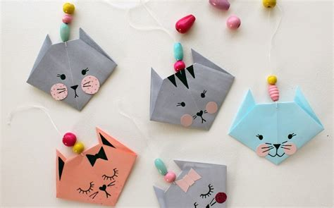 Simple Paper Crafts For - how to make an easy origami cat crafts