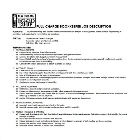 book keeper job description template 8 free word pdf