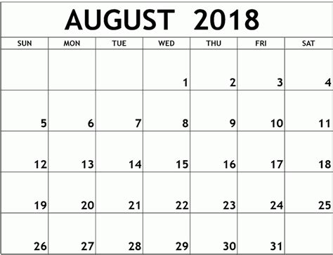 August 2018 Calendar Monthly Printable Template Printable 2018 Calendar Templates Pdf Excel August 2018 Calendar Template