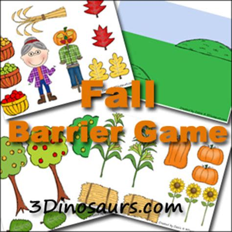printable barrier games fall pack extra fall barrier game 3 dinosaurs