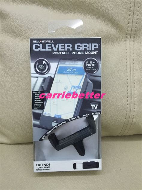 Clever U Grip Smartphone Holder free shipping bell howell clever grip air vent universal cell phone holder swivels 360 car vent
