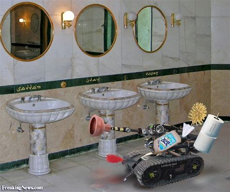 saddam hussein bathroom robots in iraq pictures freaking news